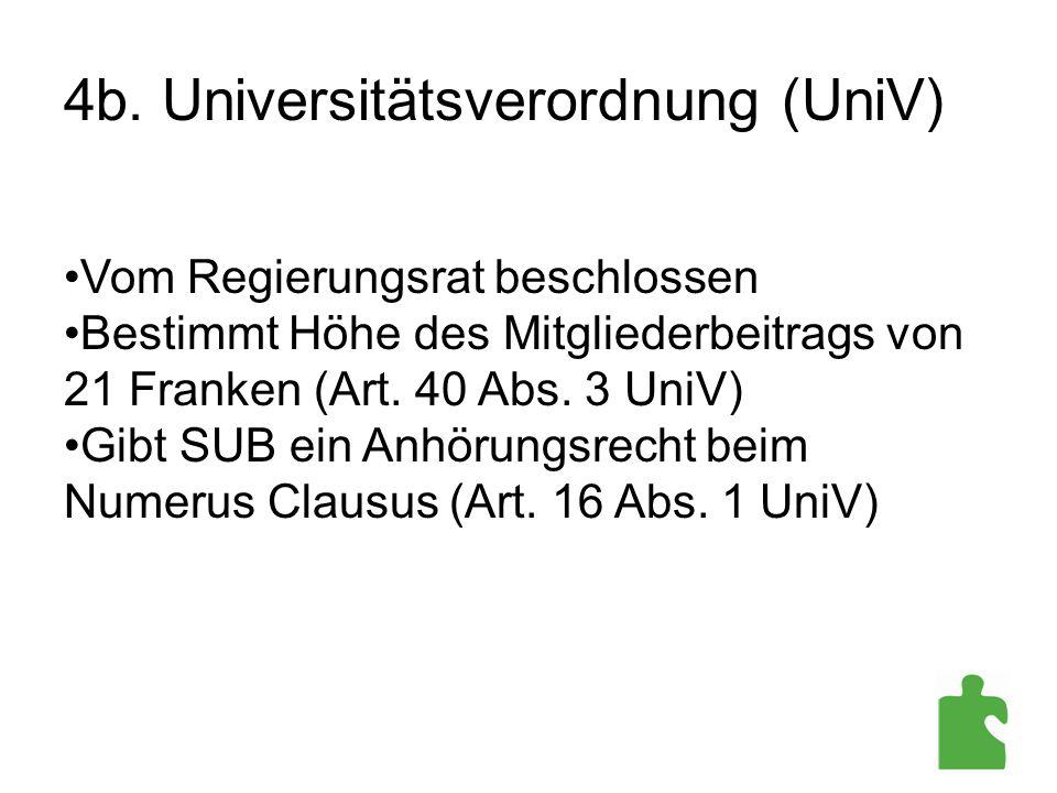 4b. Universitätsverordnung (UniV) Vom Regierungsrat beschlossen Bestimmt Höhe des Mitgliederbeitrags von 21 Franken (Art. 40 Abs. 3 UniV) Gibt SUB ein