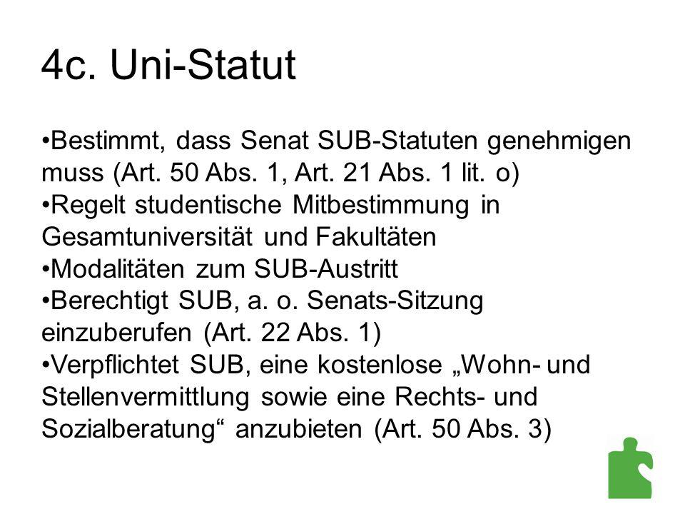 4c. Uni-Statut Bestimmt, dass Senat SUB-Statuten genehmigen muss (Art. 50 Abs. 1, Art. 21 Abs. 1 lit. o) Regelt studentische Mitbestimmung in Gesamtun