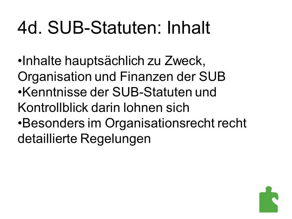 4d. SUB-Statuten: Inhalt Inhalte hauptsächlich zu Zweck, Organisation und Finanzen der SUB Kenntnisse der SUB-Statuten und Kontrollblick darin lohnen