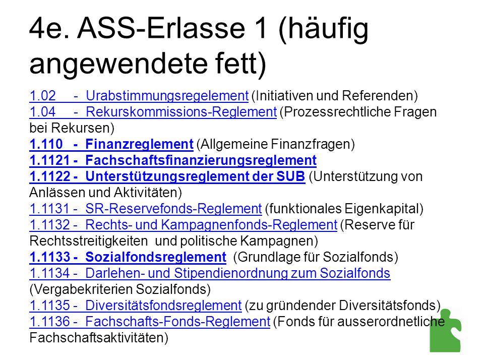 4e. ASS-Erlasse 1 (häufig angewendete fett) 1.02 - Urabstimmungsregelement (Initiativen und Referenden) 1.04 - Rekurskommissions-Reglement (Prozessrec