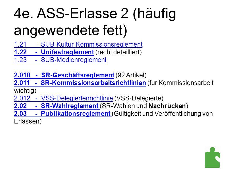 4e. ASS-Erlasse 2 (häufig angewendete fett) 1.21 - SUB-Kultur-Kommissionsreglement 1.22 - Unifestreglement (recht detailliert) 1.23 - SUB-Medienreglem