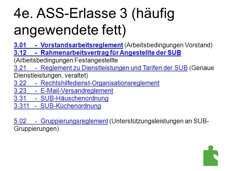 4e. ASS-Erlasse 3 (häufig angewendete fett) 3.01 - Vorstandsarbeitsreglement (Arbeitsbedingungen Vorstand) 3.12 - Rahmenarbeitsvertrag für Angestellte
