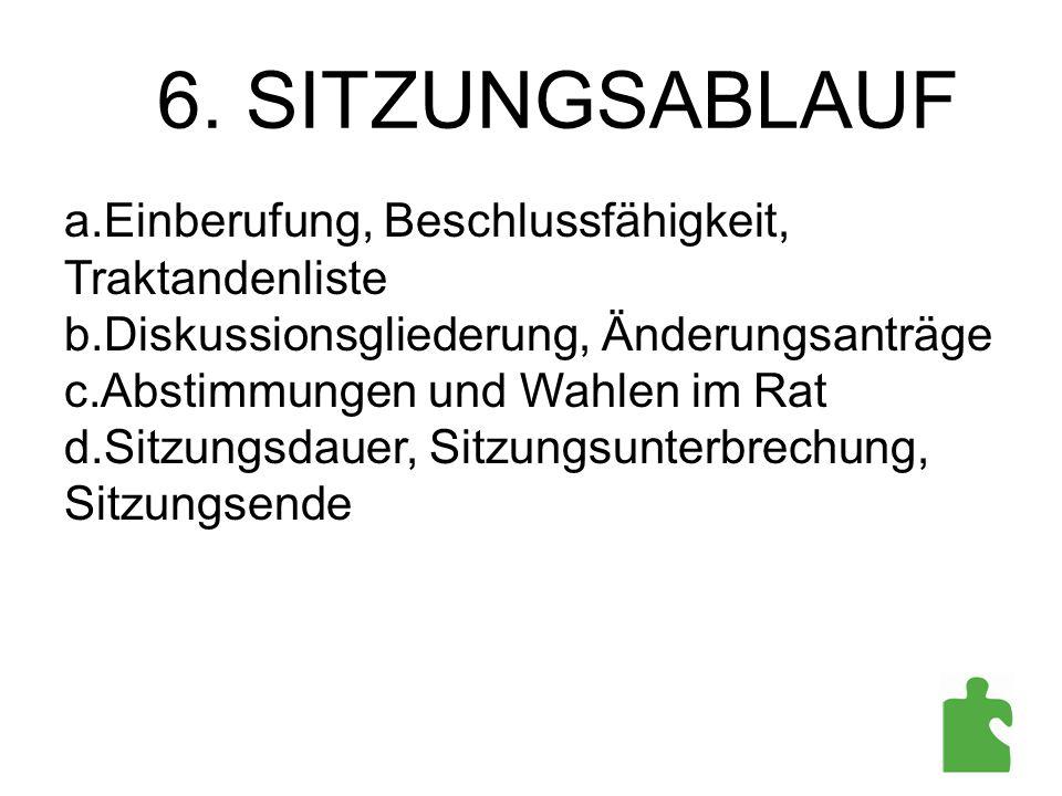 a.Einberufung, Beschlussfähigkeit, Traktandenliste b.Diskussionsgliederung, Änderungsanträge c.Abstimmungen und Wahlen im Rat d.Sitzungsdauer, Sitzung