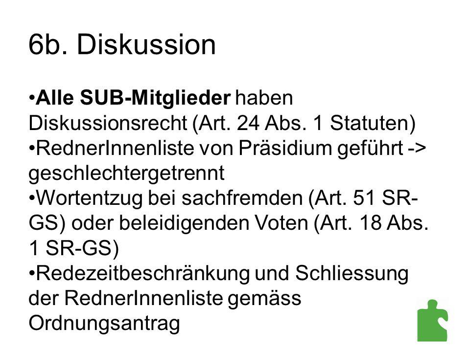 6b. Diskussion Alle SUB-Mitglieder haben Diskussionsrecht (Art. 24 Abs. 1 Statuten) RednerInnenliste von Präsidium geführt -> geschlechtergetrennt Wor