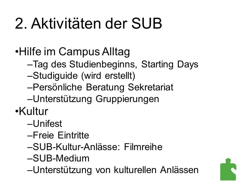 2. Aktivitäten der SUB Hilfe im Campus Alltag –Tag des Studienbeginns, Starting Days –Studiguide (wird erstellt) –Persönliche Beratung Sekretariat –Un