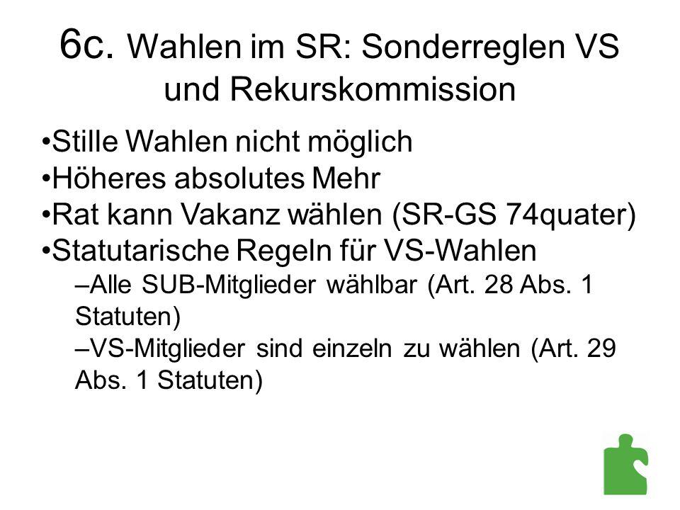 6c. Wahlen im SR: Sonderreglen VS und Rekurskommission Stille Wahlen nicht möglich Höheres absolutes Mehr Rat kann Vakanz wählen (SR-GS 74quater) Stat
