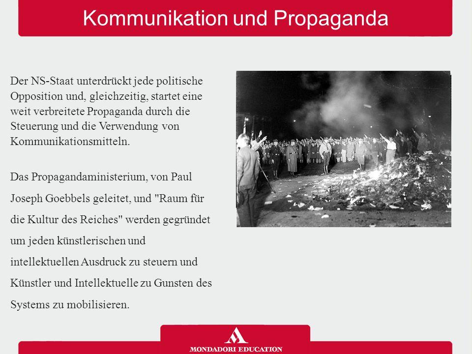 Kommunikation und Propaganda Der NS-Staat unterdrückt jede politische Opposition und, gleichzeitig, startet eine weit verbreitete Propaganda durch die