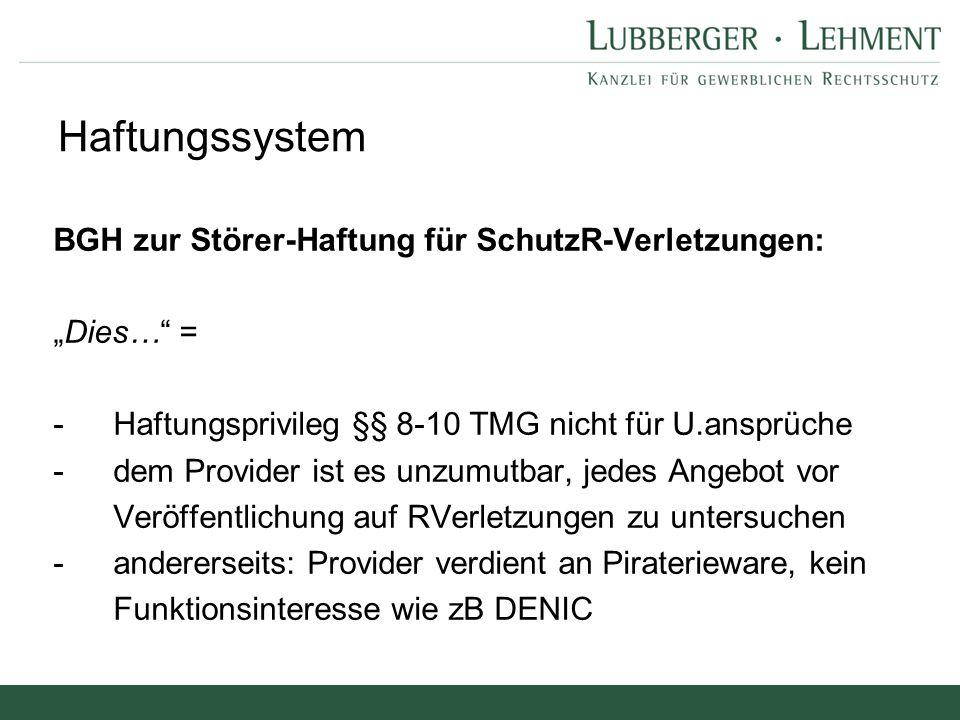 """Haftungssystem BGH zur Störer-Haftung für SchutzR-Verletzungen: """"Dies…"""" = - Haftungsprivileg §§ 8-10 TMG nicht für U.ansprüche - dem Provider ist es u"""