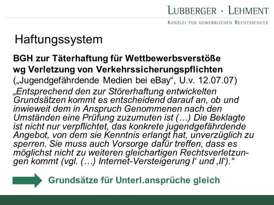 """Argumente der Provider: """"Wir haften nur subsidiär Unterlassungspflicht des Providers BGH, Urt."""