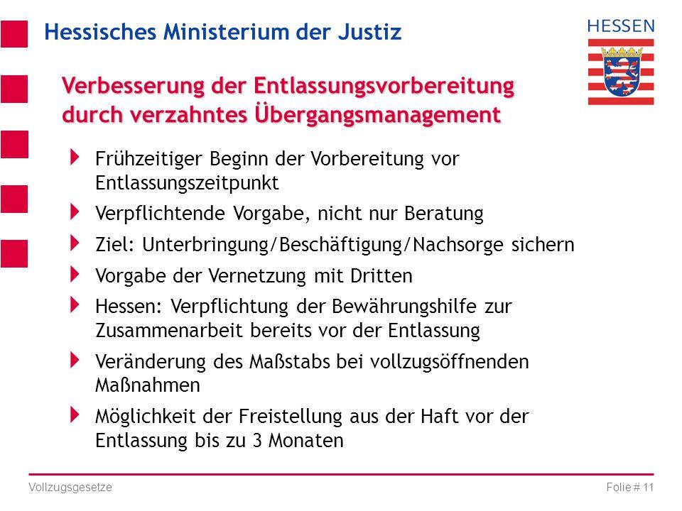 Hessisches Ministerium der Justiz Folie # 11 Vollzugsgesetze Verbesserung der Entlassungsvorbereitung durch verzahntes Übergangsmanagement  Frühzeiti