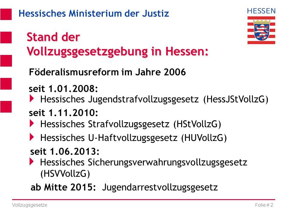 Hessisches Ministerium der Justiz Folie # 2 Vollzugsgesetze seit 1.11.2010:  Hessisches Strafvollzugsgesetz (HStVollzG)  Hessisches U-Haftvollzugsge