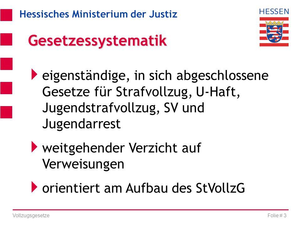 Hessisches Ministerium der Justiz Folie # 3 Vollzugsgesetze  eigenständige, in sich abgeschlossene Gesetze für Strafvollzug, U-Haft, Jugendstrafvollz