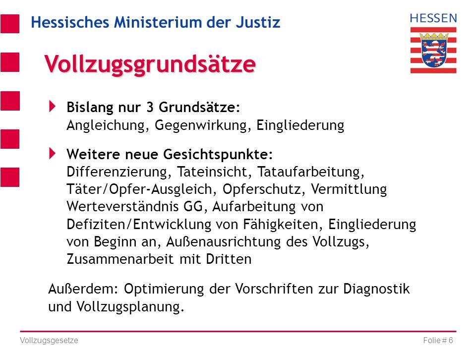 Hessisches Ministerium der Justiz Folie # 6 Vollzugsgesetze  Bislang nur 3 Grundsätze: Angleichung, Gegenwirkung, Eingliederung  Weitere neue Gesich