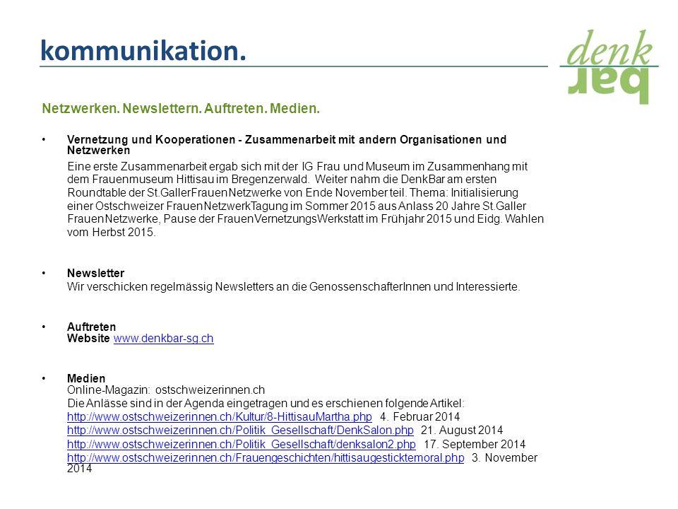 kommunikation. Netzwerken. Newslettern. Auftreten.