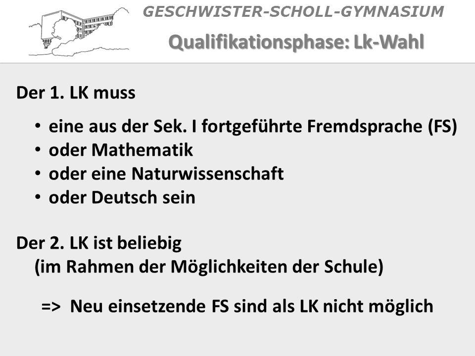 GESCHWISTER-SCHOLL-GYMNASIUM Qualifikationsphase: Lk-Wahl Der 1.