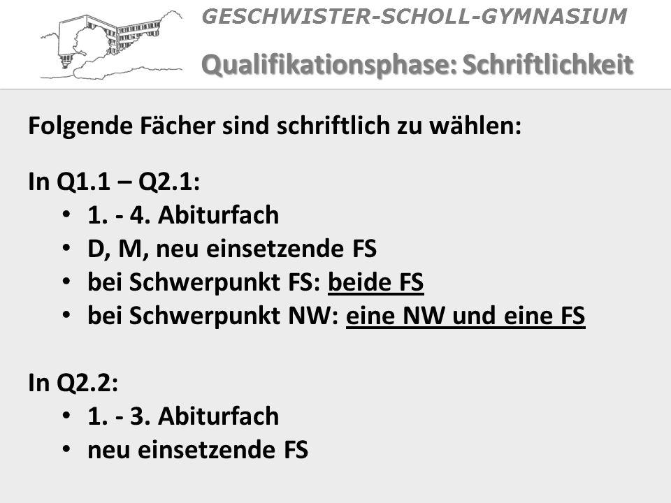 GESCHWISTER-SCHOLL-GYMNASIUM Qualifikationsphase: Schriftlichkeit Folgende Fächer sind schriftlich zu wählen: In Q1.1 – Q2.1: 1.