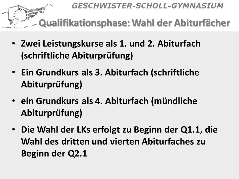 GESCHWISTER-SCHOLL-GYMNASIUM Qualifikationsphase: Wahl der Abiturfächer Zwei Leistungskurse als 1.