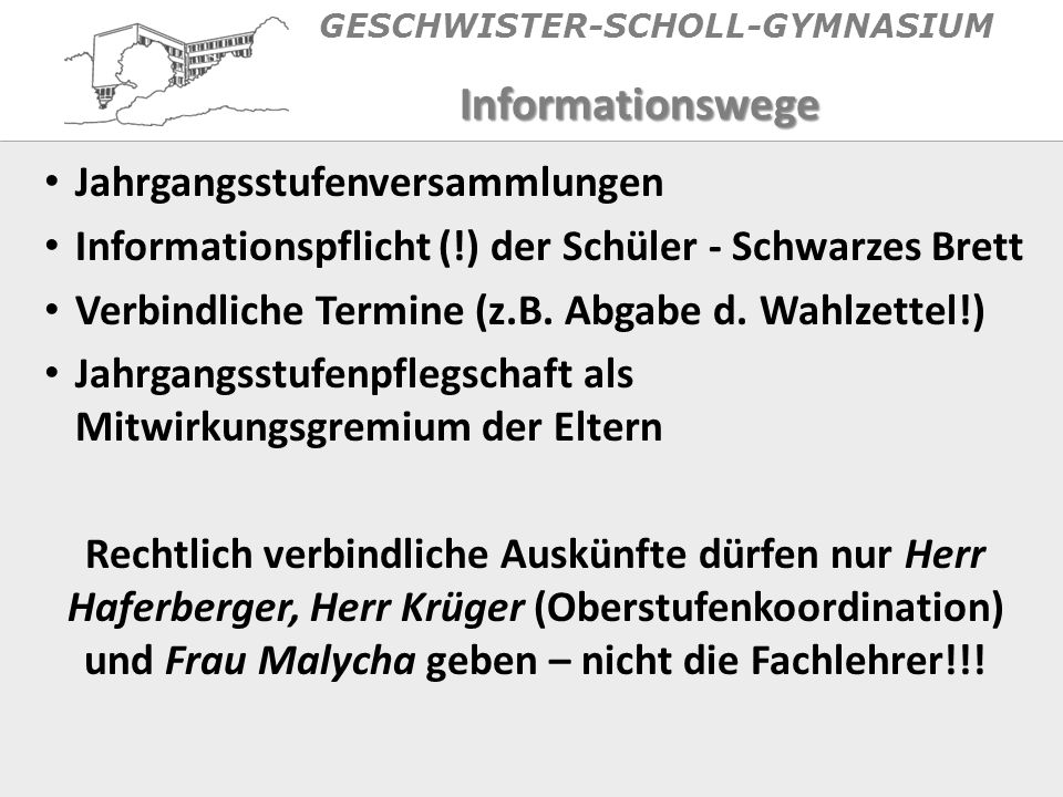 GESCHWISTER-SCHOLL-GYMNASIUM EF: Pflichtbelegung AF III Mathematik s Eine Naturwissenschaft (Biologie, Physik, Chemie) s