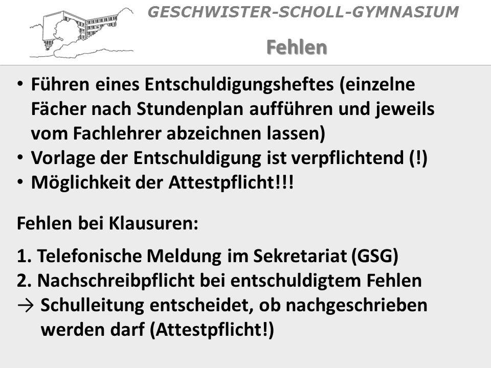 GESCHWISTER-SCHOLL-GYMNASIUM AFIII: Mathematik (Q1.1 – Q2.2) Eine Naturwissenschaft (Q1.1 – Q2.2) Religion (mind.