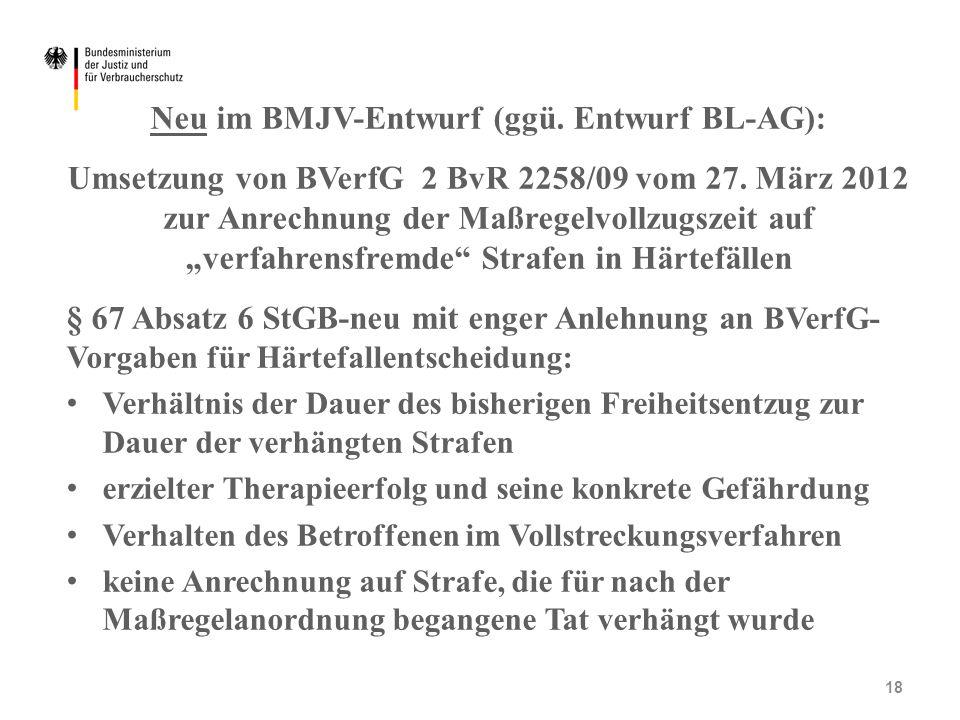 """Neu im BMJV-Entwurf (ggü. Entwurf BL-AG): Umsetzung von BVerfG 2 BvR 2258/09 vom 27. März 2012 zur Anrechnung der Maßregelvollzugszeit auf """"verfahrens"""
