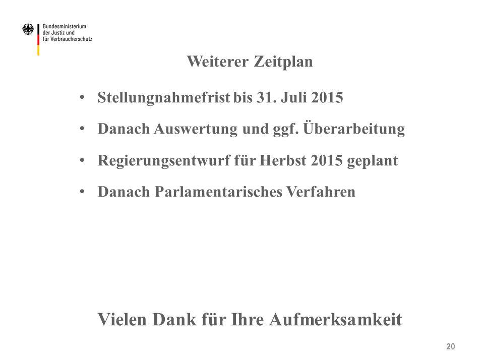 Weiterer Zeitplan Stellungnahmefrist bis 31. Juli 2015 Danach Auswertung und ggf. Überarbeitung Regierungsentwurf für Herbst 2015 geplant Danach Parla