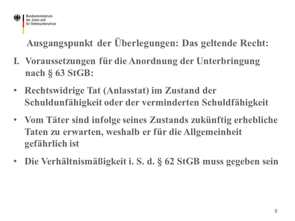 Ausgangspunkt der Überlegungen: Das geltende Recht: I. Voraussetzungen für die Anordnung der Unterbringung nach § 63 StGB: Rechtswidrige Tat (Anlassta
