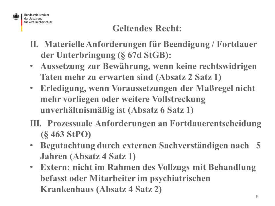Geltendes Recht: II. Materielle Anforderungen für Beendigung / Fortdauer der Unterbringung (§ 67d StGB): Aussetzung zur Bewährung, wenn keine rechtswi