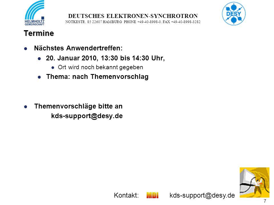 8 8 DEUTSCHES ELEKTRONEN-SYNCHROTRON NOTKESTR.85 22607 HAMBURG PHONE +49-40-8998-0.