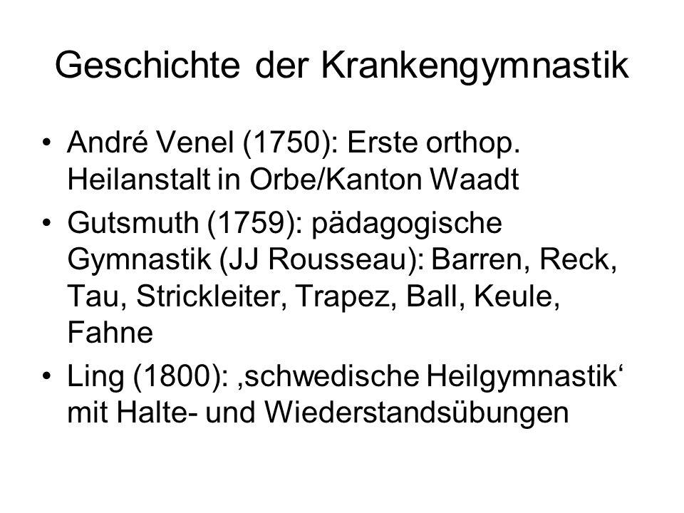 Geschichte der Krankengymnastik André Venel (1750): Erste orthop. Heilanstalt in Orbe/Kanton Waadt Gutsmuth (1759): pädagogische Gymnastik (JJ Roussea