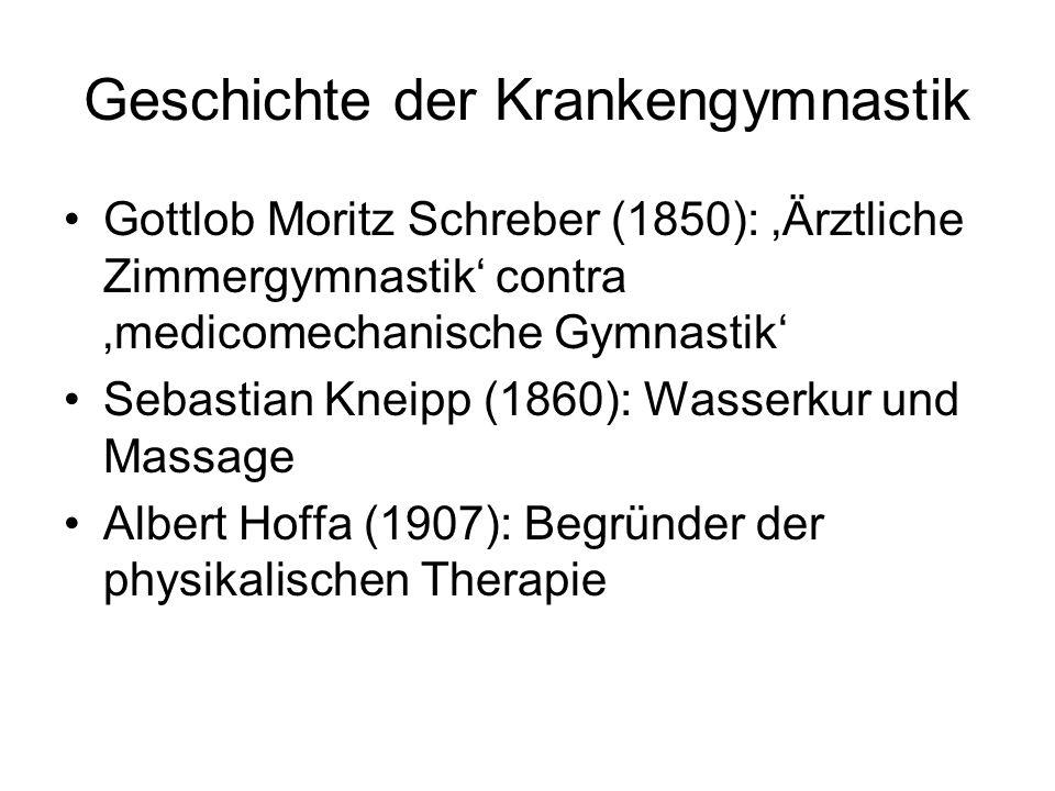 Geschichte der Krankengymnastik Gottlob Moritz Schreber (1850): 'Ärztliche Zimmergymnastik' contra 'medicomechanische Gymnastik' Sebastian Kneipp (186