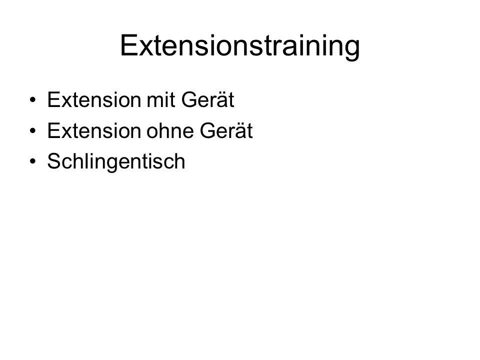Extensionstraining Extension mit Gerät Extension ohne Gerät Schlingentisch
