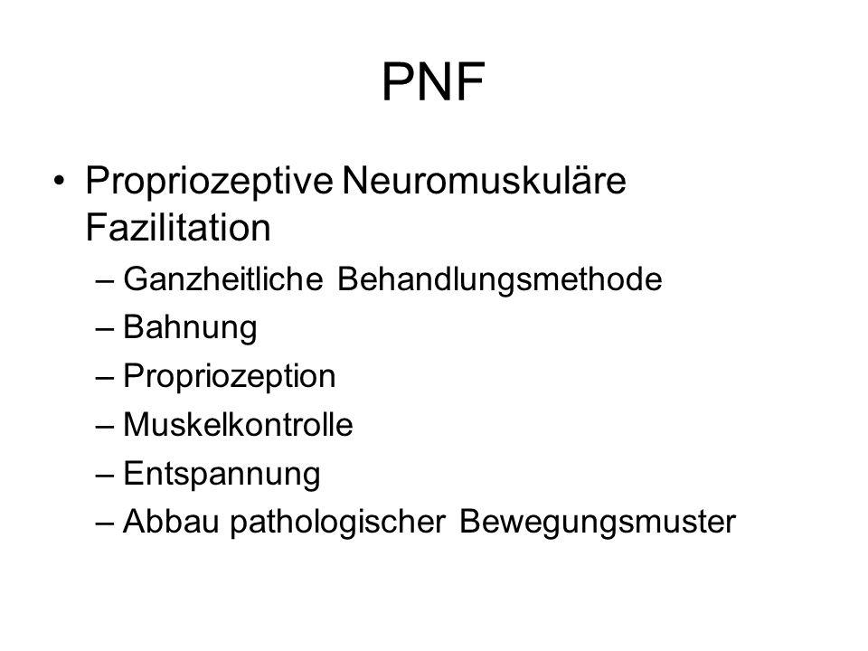 PNF Propriozeptive Neuromuskuläre Fazilitation –Ganzheitliche Behandlungsmethode –Bahnung –Propriozeption –Muskelkontrolle –Entspannung –Abbau patholo