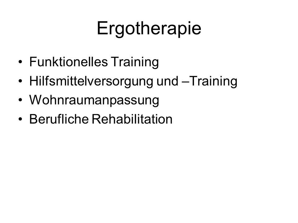 Ergotherapie Funktionelles Training Hilfsmittelversorgung und –Training Wohnraumanpassung Berufliche Rehabilitation