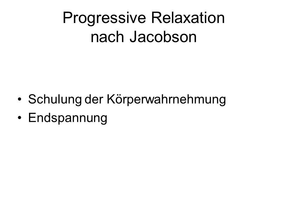 Progressive Relaxation nach Jacobson Schulung der Körperwahrnehmung Endspannung