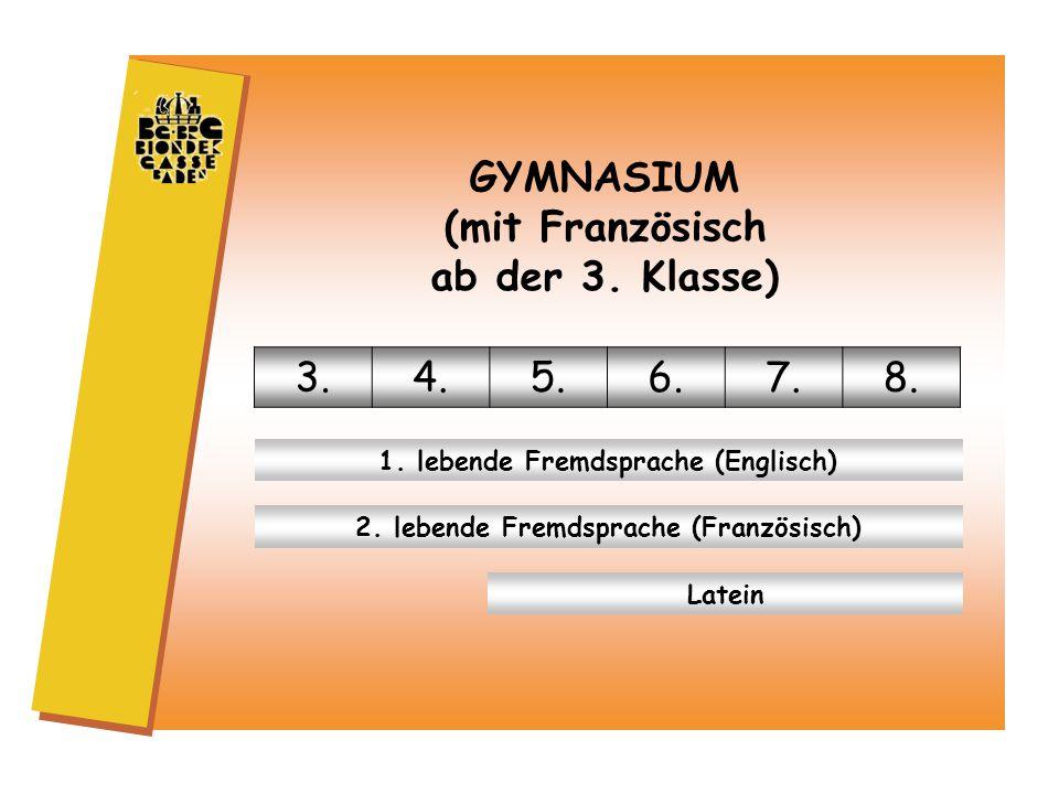GYMNASIUM (mit Französisch ab der 3. Klasse) 3.4.5.6.7.8.