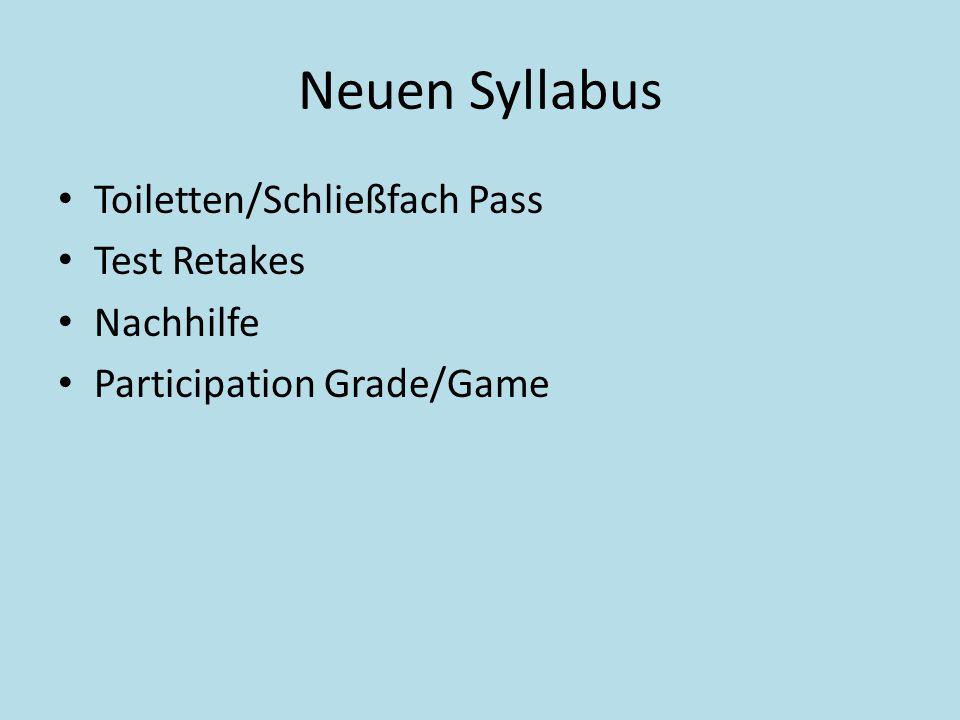 Neuen Syllabus Toiletten/Schließfach Pass Test Retakes Nachhilfe Participation Grade/Game