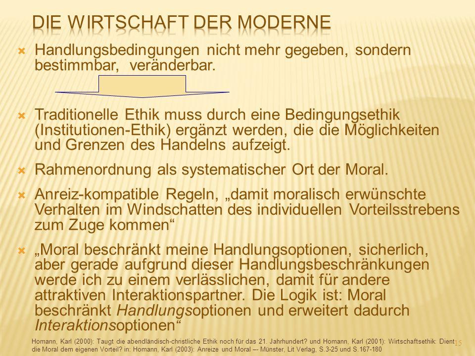  Handlungsbedingungen nicht mehr gegeben, sondern bestimmbar, veränderbar.  Traditionelle Ethik muss durch eine Bedingungsethik (Institutionen-Ethik