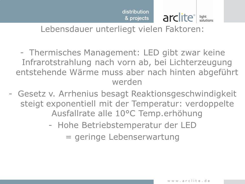 distribution & projects www.arclite.de Lebensdauer unterliegt vielen Faktoren: -Thermisches Management: LED gibt zwar keine Infrarotstrahlung nach vor