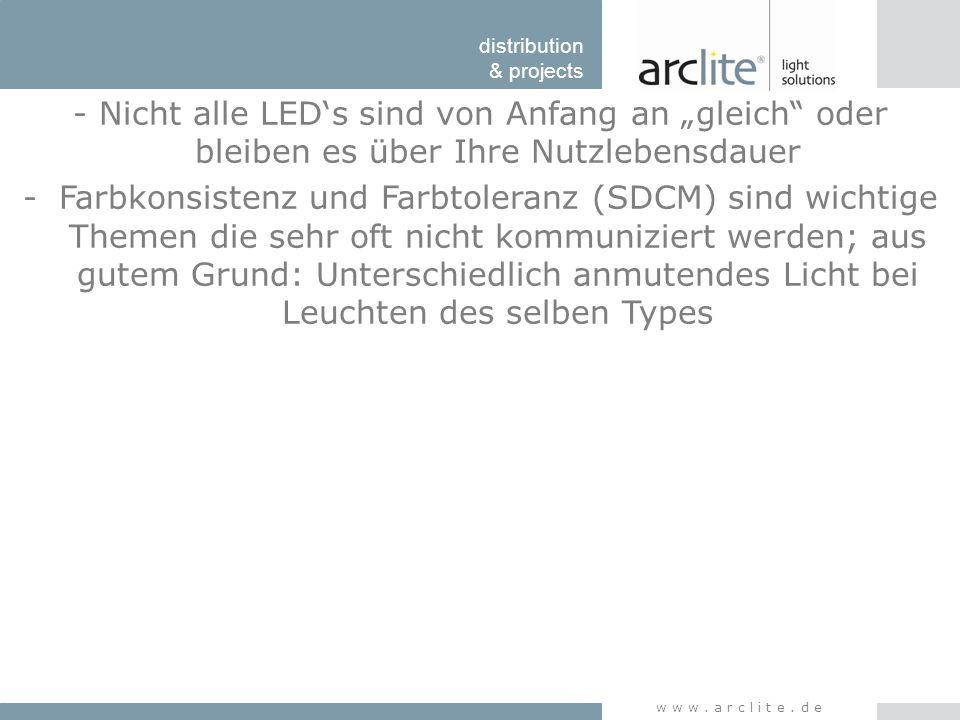 """distribution & projects www.arclite.de - Nicht alle LED's sind von Anfang an """"gleich"""" oder bleiben es über Ihre Nutzlebensdauer -Farbkonsistenz und Fa"""