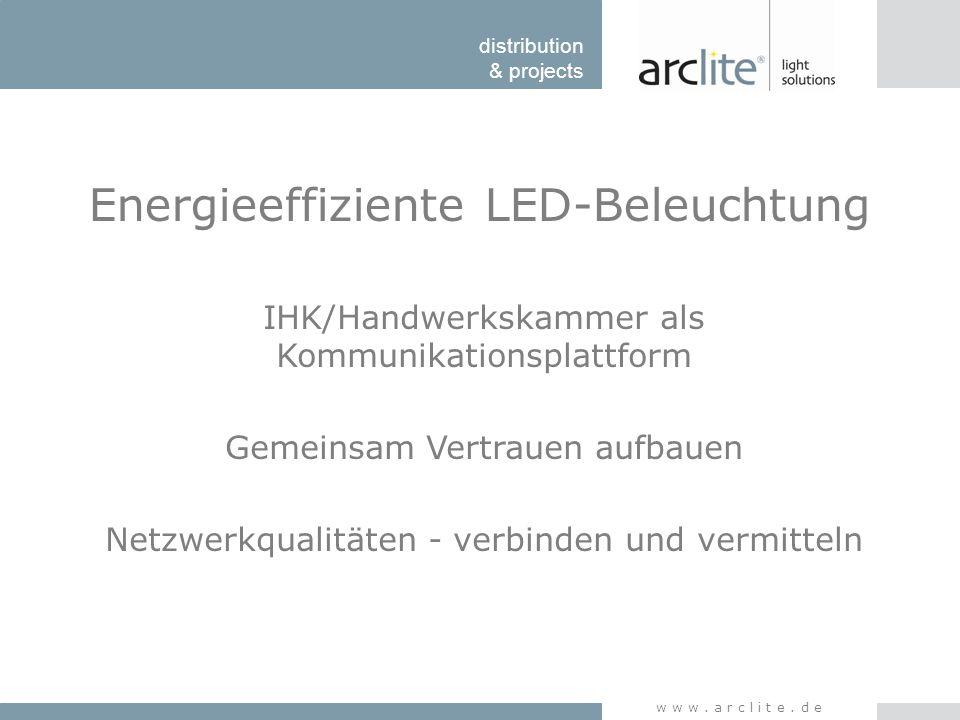 distribution & projects www.arclite.de Energieeffiziente LED-Beleuchtung Programm 1.Vorteile und Grenzen der LED- Technik 2.Effizienz versus Lichtqualität 3.Die Lichtplanung – Der Arbeitsschutz 4.Amortisation – Wann rechnet sich die Umstellung.