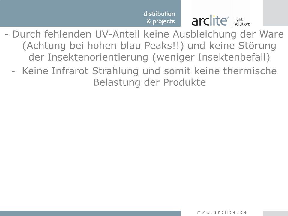 distribution & projects www.arclite.de - Durch fehlenden UV-Anteil keine Ausbleichung der Ware (Achtung bei hohen blau Peaks!!) und keine Störung der