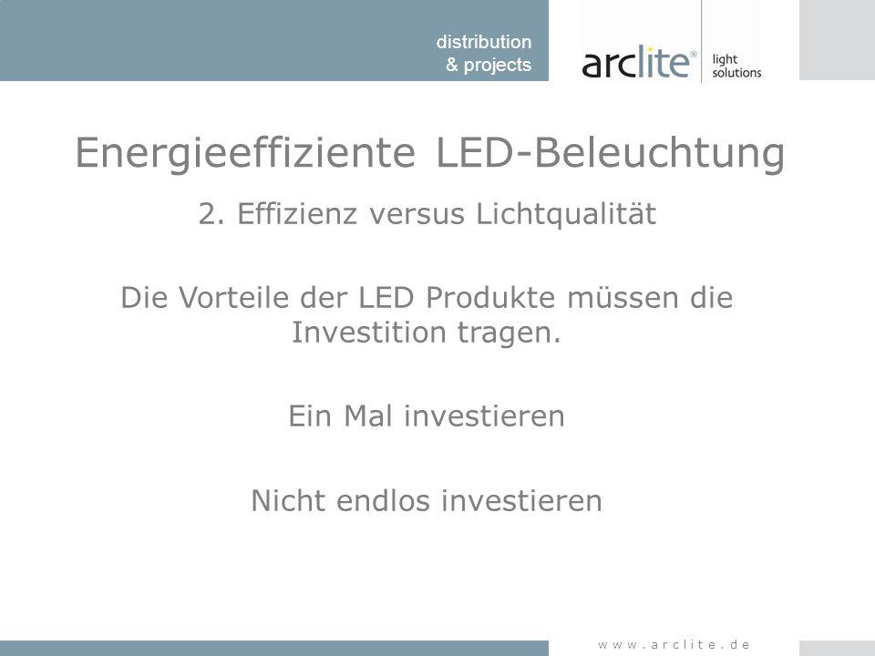 distribution & projects www.arclite.de Energieeffiziente LED-Beleuchtung 2. Effizienz versus Lichtqualität Die Vorteile der LED Produkte müssen die In