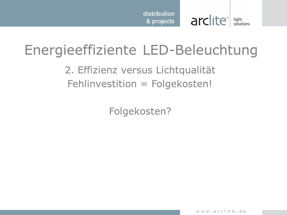 distribution & projects www.arclite.de Energieeffiziente LED-Beleuchtung 2. Effizienz versus Lichtqualität Fehlinvestition = Folgekosten! Folgekosten?