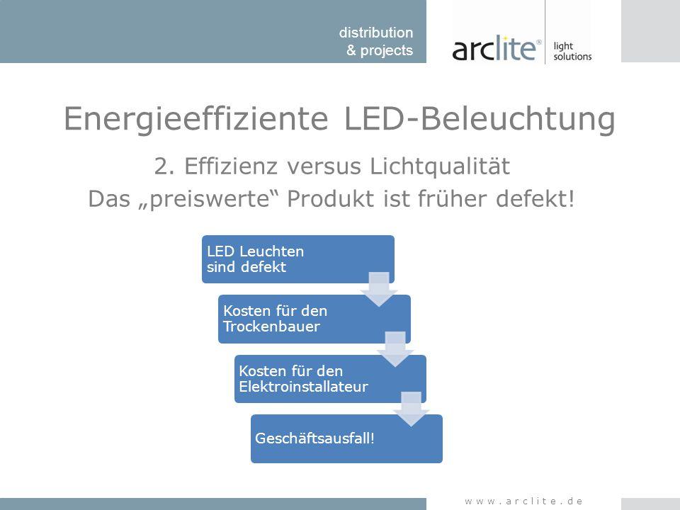 """distribution & projects www.arclite.de Energieeffiziente LED-Beleuchtung 2. Effizienz versus Lichtqualität Das """"preiswerte"""" Produkt ist früher defekt!"""