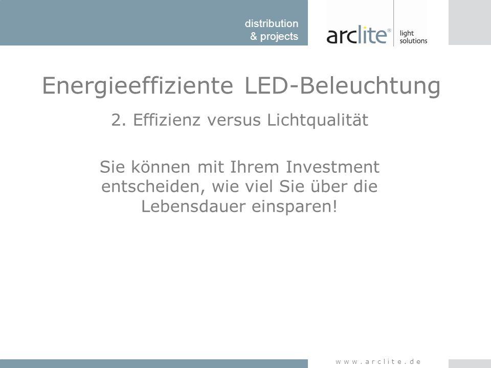 distribution & projects www.arclite.de Energieeffiziente LED-Beleuchtung 2. Effizienz versus Lichtqualität Sie können mit Ihrem Investment entscheiden