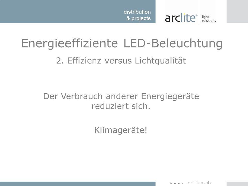 distribution & projects www.arclite.de Energieeffiziente LED-Beleuchtung 2. Effizienz versus Lichtqualität Der Verbrauch anderer Energiegeräte reduzie