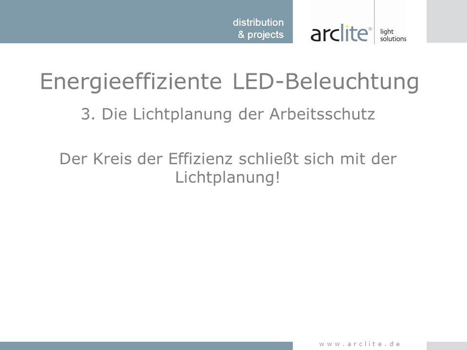 distribution & projects www.arclite.de Energieeffiziente LED-Beleuchtung 3. Die Lichtplanung der Arbeitsschutz Der Kreis der Effizienz schließt sich m
