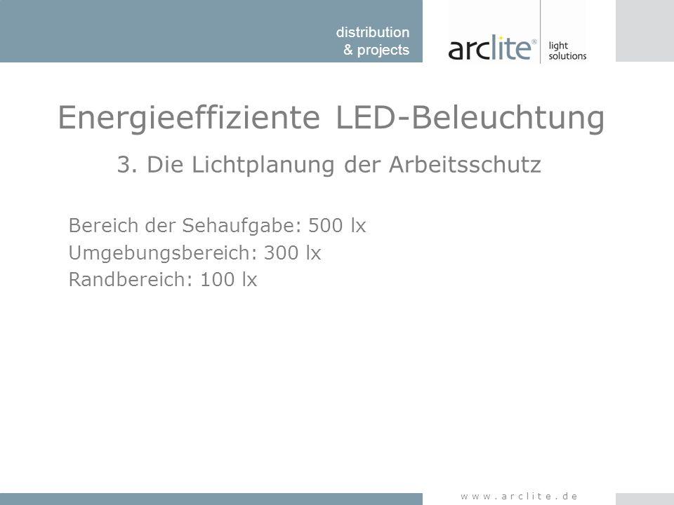 distribution & projects www.arclite.de Energieeffiziente LED-Beleuchtung 3. Die Lichtplanung der Arbeitsschutz Bereich der Sehaufgabe: 500 lx Umgebung