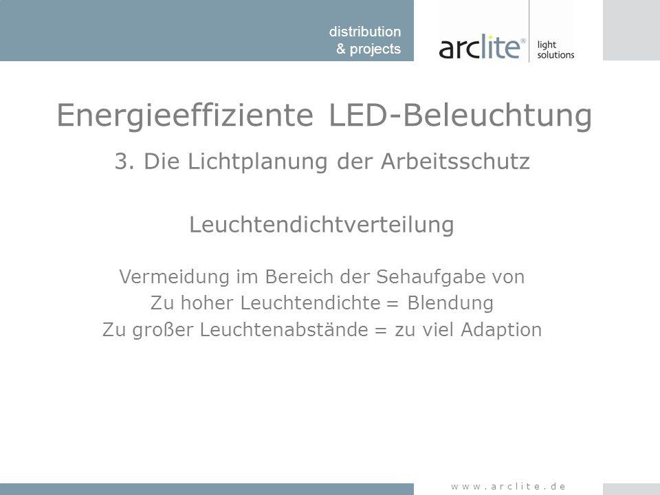 distribution & projects www.arclite.de Energieeffiziente LED-Beleuchtung 3. Die Lichtplanung der Arbeitsschutz Leuchtendichtverteilung Vermeidung im B