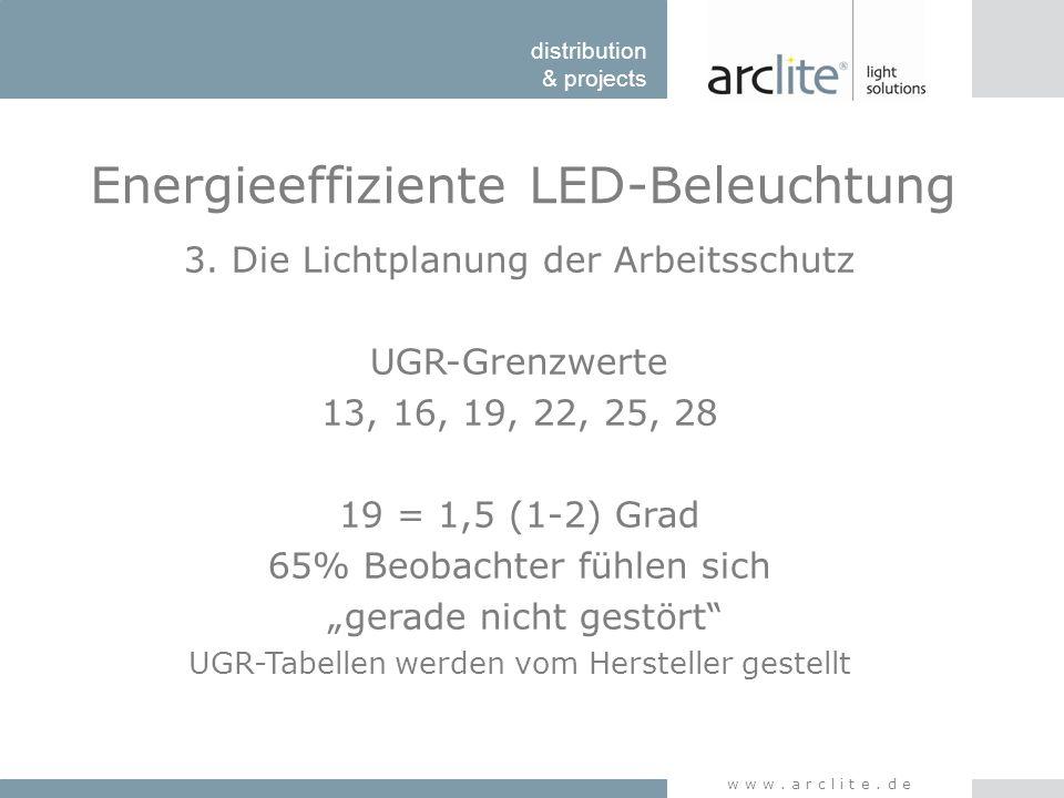 distribution & projects www.arclite.de Energieeffiziente LED-Beleuchtung 3. Die Lichtplanung der Arbeitsschutz UGR-Grenzwerte 13, 16, 19, 22, 25, 28 1